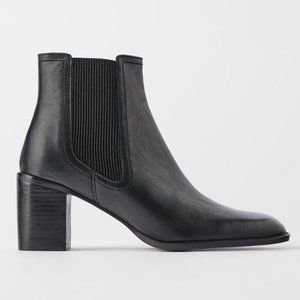 NEW ZARA BLACK LEATHER HEELED ANKLE CHELSEA BOOTS
